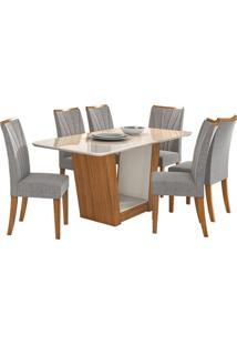 Sala De Jantar Apogeu Com 6 Cadeiras Linho Gris Rovere Naturale