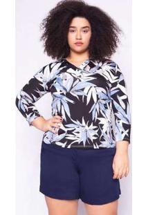 Blusa Almaria Plus Size Ela Linda Estampada Azul Marinho Azul