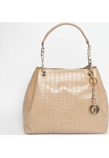 Bolsa Em Couro Com Bag Charm - Bege - 25X40X12Cmjorge Bischoff