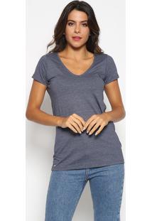 Camiseta Com Bordado - Azul Marinhoaleatory