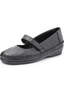 Sapato Conforto Pizaflex Boneca Feminino - Feminino-Preto