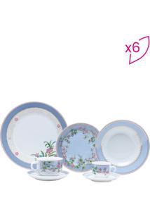 Aparelho De Jantar Cléres- Branco & Azul Claro- 42Pçwolff
