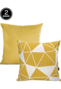 Kit Capas De Almofadas 2 Pçs Veludo 42X42Cm Mosaico Amarelo Stm Home