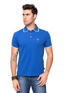 Camisa Polo Piquet Tony Menswear Com Elastano Azul