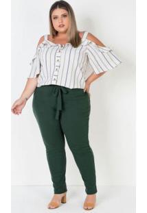 Calça Plus Size Com Amarração Fixa Frente Verde