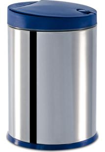 Lixeira Press Inox C/Tp Brinox Azul