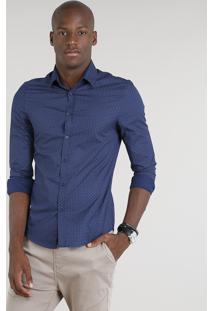 Camisa Masculina Slim Estampada Manga Longa Azul Marinho