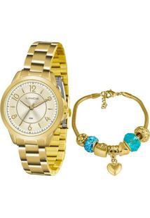 Kit Relógio Lince Feminino Funny Analógico Dourado Lrg4504L-Ku49C2Kx - Kanui