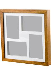 Painel De Madeira Woodart Para 4 Fotos 10X15Cm Com Margem Branco