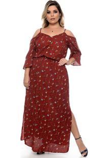 Vestido Florença Marsala Plus Size