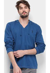 Camiseta Aleatory Manga Longa Capuz Masculina - Masculino-Azul
