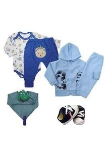 Kit 6 Pçs Roupa Bebê Menino Menina Estilosa Presente Enxoval Azul