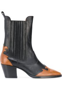 Paris Texas Ankle Boot Com Contraste - Preto