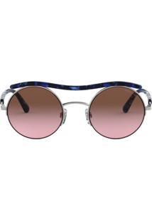 bb3bc41af75f4 ... Óculos Giorgio Armani Ar6082 301514 Estampado Azul Prata Lente Violeta Marrom  Degradê Tam 49