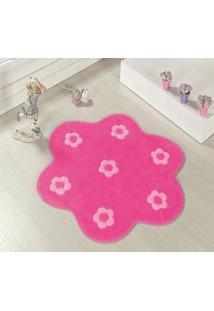 Tapete Formato Feltro Antiderrapante Jardim Pink