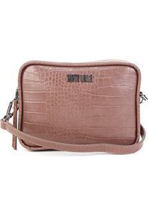Bolsa Santa Lolla Mini Bag Croco Alto Brilho Feminina - Feminino-Marrom Claro