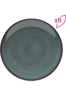 Jogo De Pratos Rasos Reactive Glaze- Azul Escuro- 6Projemac