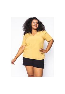 Blusa Almaria Plus Size Enois Viscolinho Amarelo