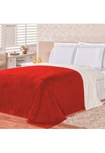 Cobertor Malmo Vermelho Dupla Face Queen - Tecido Sherpa E Manta Microfibra - Tricae