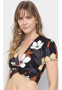 Blusa Cropped Colcci Floral Nó Feminina - Feminino-Preto+Amarelo