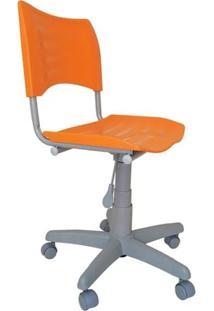 Cadeira Giratória Iso Plástica Base Cinza - Laranja