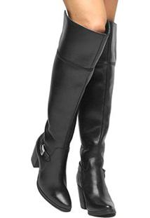 5d0f61d7cf ... Bota Couro Over The Knee Shoestock Fivela Feminina - Feminino-Preto
