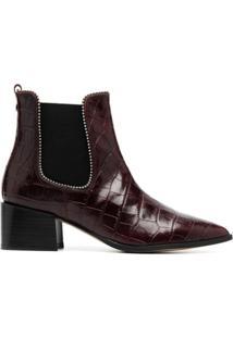 Carvela Ankle Boot Spire Com Efeito De Pele De Crocodilo - Vermelho
