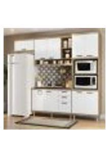 Cozinha Compacta Completa Multimóveis Com 4 Peças Sicília 5828 Argila/Branco
