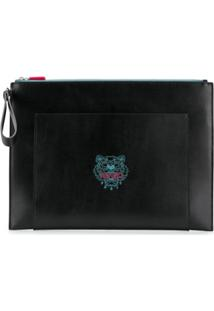 Kenzo Tiger-Embroidered Clutch - Preto