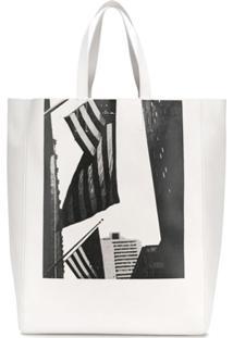 Calvin Klein 205W39Nyc Bolsa Tote De Couro - Branco