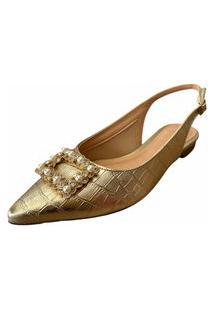 Sapatilha La Femme Slingback Pedras Dourado