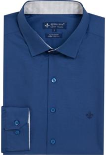 Camisa Dudalina Tricoline Lisa Masculina (Azul Escuro, 5)