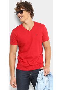 Camiseta Ellus Flamê Gola V Fine Classic Masculina - Masculino