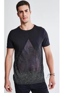 Camiseta Spray Com Detalhe Em Suede