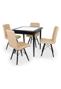 Conjunto Mesa De Jantar Em Madeira Preto Prime Com Azulejo + 4 Cadeiras Gomos - Nude
