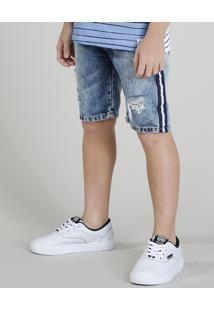 Bermuda Jeans Infantil Destroyed Com Faixa Lateral Listrada Azul Médio
