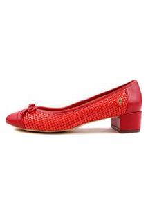 Scarpin Vermelho Salto Grosso Baixo Tressê Bico Redondo Com Laço