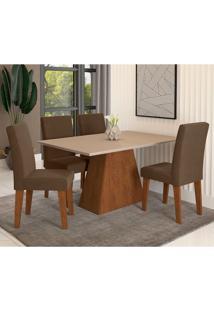 Conjunto De Mesa De Jantar Com 4 Cadeiras Estofadas Bianca Suede Off White E Chocolate