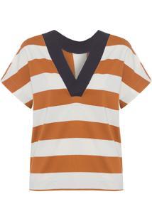 Blusa Feminina Maxi Rib Stripe - Bege