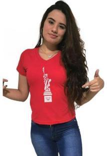 Camiseta Gola V Cellos New York Premium Feminina - Feminino-Vermelho