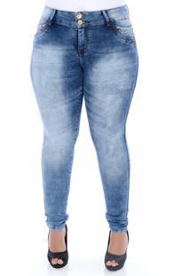 Calça Jeans Delavê Super Fashion Xtra Charmy Azul