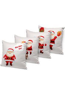 Kit 4 Capas Para Almofada Love Decors Decorativas Cute Papai Noel - Kanui