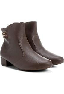 Bota Cano Curto Piccadilly Hot Fix Feminina - Feminino-Café