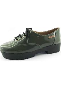Tênis Quality Shoes 005 Verniz Verde Militar Sola Tratorada