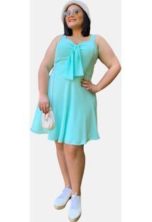 Vestido Curto Social Verão Tnm Collection Plus Size Casual Festa Azul Piscina