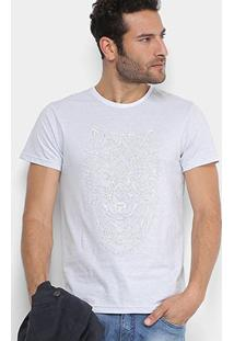Camiseta Maquinetada Rg 518 Estampada Lobo - Masculino-Branco