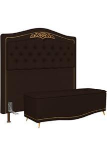 Cabeceira Cama Box Casal 140Cm Com Calçadeira Baú Imperial J02 Corano