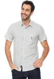 Camisa Aleatory Slim Listrada Branca