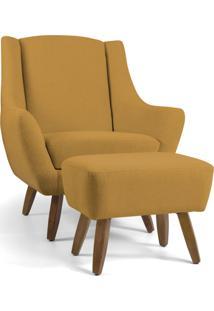 Poltrona Decorativa Com Puff Sala De Estar Pés De Madeira Naomi Algodão Amarelo - Gran Belo
