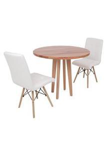 Conjunto Mesa De Jantar Em Madeira 90Cm Com Base Vértice + 2 Cadeiras Gomos - Branco